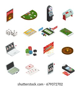 Gambling colored set with online lottery and casino icons isolated on white background isometric vector illustration