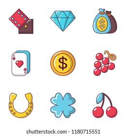 Gambling establishment icons set. Cartoon set of 9 gambling establishment vector icons for web isolated on white background