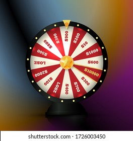 Gambling game element, spinning wheel, roulette vector illustration. Casino bets, online betting icon.