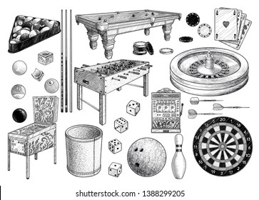 Gambling games collection, illustration, drawing, engraving, ink, line art, vector