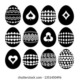 Gambling and geometric symbols on Easter eggs. Silhouettes of black Easter eggs isolated on white background. Template, Print design, sticker, scrap booking, stamp, vector illustration