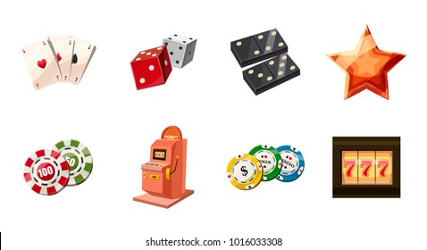 Gambling icon set. Cartoon set of gambling vector icons for web design isolated on white background
