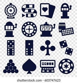 Gambling icons set. set of 16 gambling filled icons such as Spades, Clubs, Roulette, Slot machine, domino, dice, dice game, slot machine, biliard triangle, lotto