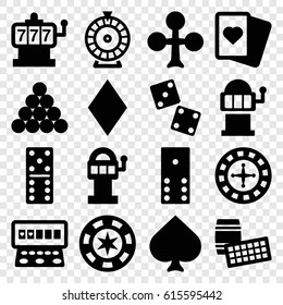 Gambling icons set. set of 16 gambling filled icons such as Spades, Clubs, Diamonds, Roulette, Slot machine, domino, dice, slot machine, biliard triangle, lotto