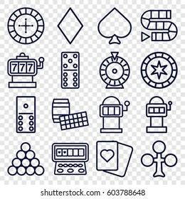 Gambling icons set. set of 16 gambling outline icons such as Spades, Clubs, Diamonds, Roulette, Slot machine, domino, dice game, slot machine, biliard triangle, lotto