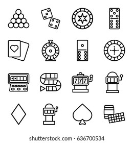 Gambling icons set. set of 16 gambling outline icons such as spades, diamonds, roulette, slot machine, domino, dice, dice game, slot machine, biliard triangle, lotto