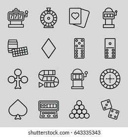 Gambling icons set. set of 16 gambling outline icons such as spades, clubs, diamonds, roulette, slot machine, domino, dice, dice game, slot machine, biliard triangle