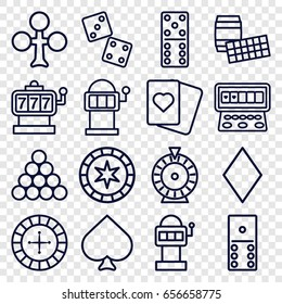 Gambling icons set. set of 16 gambling outline icons such as spades, clubs, diamonds, roulette, slot machine, domino, dice, slot machine, biliard triangle, lotto