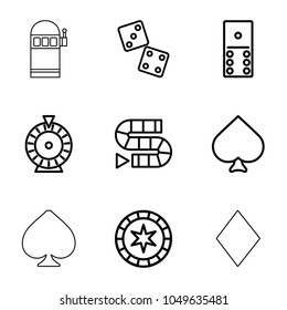 Gambling icons. set of 9 editable outline gambling icons such as spades, roulette, domino, dice, dice game, casino chip, diamonds