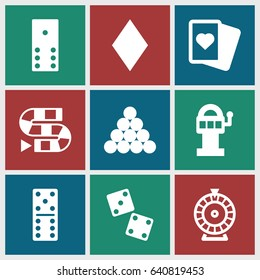 Gambling icons set. set of 9 gambling filled icons such as diamonds, domino, roulette, spades, dice, dice game, slot machine