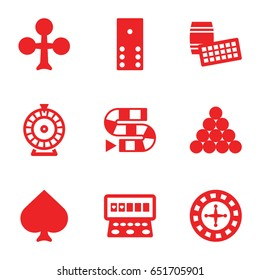 Gambling icons set. set of 9 gambling filled icons such as spades, clubs, roulette, slot machine, domino, dice game, biliard triangle
