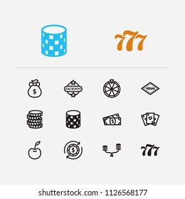 Gambling icons set. Gamble and gambling icons with cash money, money abundance and fortune wheel. Set of addiction for web app logo UI design.
