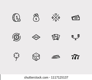 Gambling icons set. Gamble play and gambling icons with gold, money prize and lucky. Set of jack for web app logo UI design.