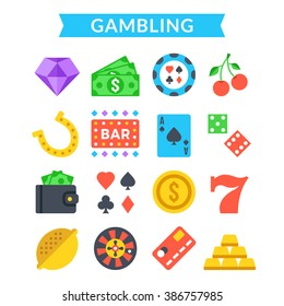 Gambling icons set. Gambling, gaming, card game, casino, roulette concepts. Modern flat design icons set for web sites, web banners, mobile apps, infographics, printed materials. Vector icons set