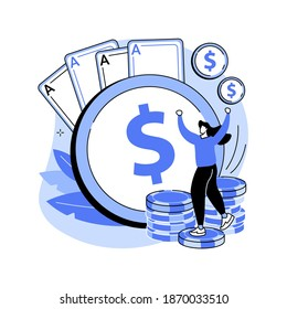 Gambling income abstract concept vector illustration. Taxation of gambling winning, legal wagers operations, prize market value, online casino money slot, professional gambler abstract metaphor.