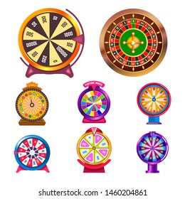 Gambling items fortune wheel and casino roulette isolated round objects vector score win easy earning profit or jackpot stake or bet luck risk and opportunity, striped circle rotation lottery