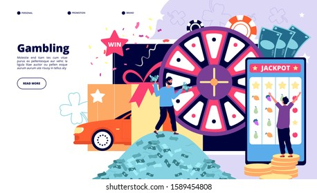 Gambling landing page. Happy people playing lottery, slot machine and casino roulette. Win poker jackpot prize vector gambling design