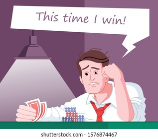 Gambling obsession flat vector illustration. Casino entertainment addiction. Obsessed gambler hoping to win. Poker player, gambling addict expecting victory in card game cartoon character