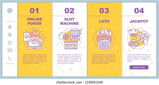 Gambling onboarding mobile web pages vector template. Online poker, slot machine, loto. Responsive smartphone website interface idea with linear illustrations. Webpage walkthrough step screens