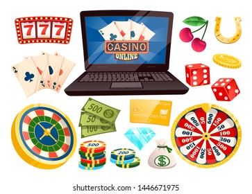 Gambling and playing on money online vector, isolated laptop with cards. Dive and horseshoe, cherry and 777 numbers, roulette and banknotes, coin and chips. Objects for casino game