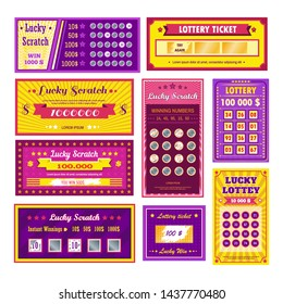 Gambling and winning money lottery tickets lucky scratch bingo vector paper leaflets with numbers fortune game win combination risk and prize cash