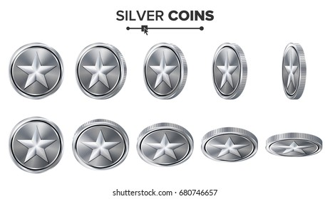Game 3D Silver Coin Vector With Star. Flip Different Angles Illustration Isolated On White.