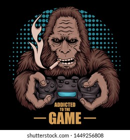 game addicted bigfoot vector illustration for your company or brand
