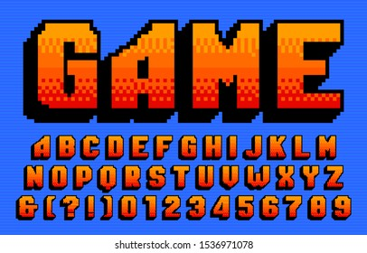 Game alphabet font. 3D pixel letters and numbers. 80s arcade video game typeface.