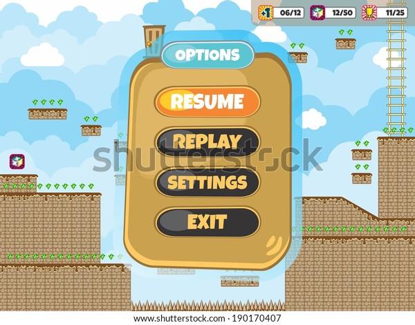 Game Assets Tile Platform Menu Template Stock Vector