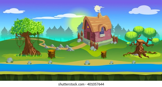 game background 2d game application. Vector design. Tileable horizontally. Size 1024x512