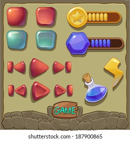 Game background with buttons and resources icons set (vector)