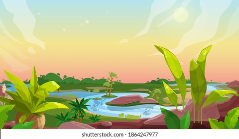 Game background of cartoon nature landscape, vector ui and gui with forest, ground, sky, green grass meadow, palm trees and river water, rocks and jungle plants. User interface, game animation design