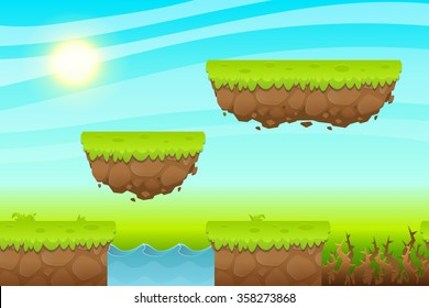 Game Background made from seamless endless elements. Vector assets and layers for mobile games
