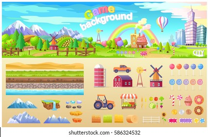 Game background poster of urban playground or candy factory structure. Vector colorful illustration of land types, service transport, fresh fruit and vegetables, kinds of lollipops and sweet food