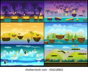 Game background Vector seamless set