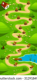 Game background, vertical tileable wallpaper for level select screen, path in the green hills.