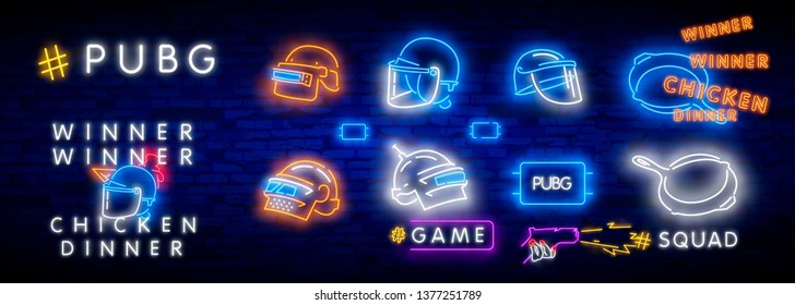 Game Battle Grounds neon sign, bright signboard, light banner, PUBG. Vector illustration logo and text Winner winner chicken dinner. winning pubg text