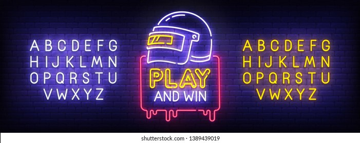 Game Battle Grounds neon sign, bright signboard, light banner. Battle Royale logo, emblem and label. Neon sign creator. Neon text edit