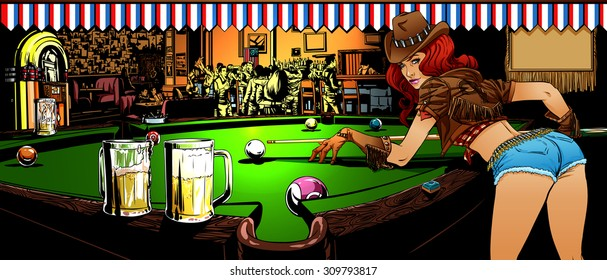 The game of billiards in the bar