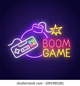Game Boom neon sign, bright signboard, light banner. Game logo, emblem. Vector illustration