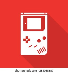 game boy flat icon with long shadow.