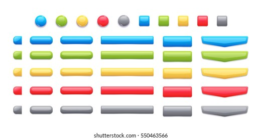 Game Button Templates. Pack of game button templates design.
