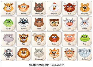 Game Card or Icon with Cute Animal Faces. Vector Clip art for Children. Items for Board Game Design or Gui Assets at Infant School or Playschool