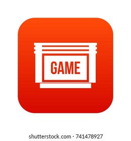 Game cartridge icon digital red for any design isolated on white vector illustration