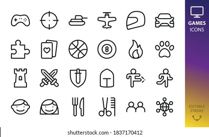 Game categories isolated vector icons. Set of shooter, tanks, race, puzzle, cards, sport, tower defense, rpg, mmo, 2 players, fighting, platform, runner, billiard, cooking, strategy, airplane games