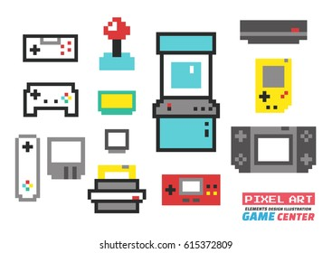 Game Center Pixel Art , Elements Design Illustration and icon