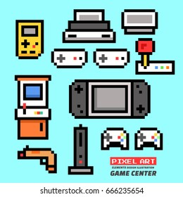 Game Center. Pixel Art. Elements Design. Illustration and icon.