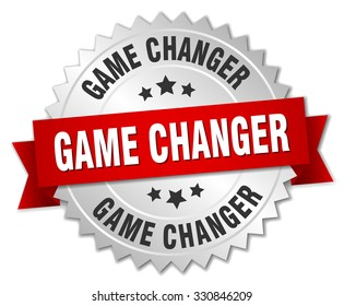 game changer 3d silver badge with red ribbon