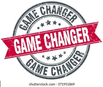 game changer red round grunge vintage ribbon stamp