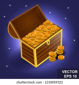 A game. Chest of Gold Cartoon button. Bright. Shine congratulation. Win. For your design